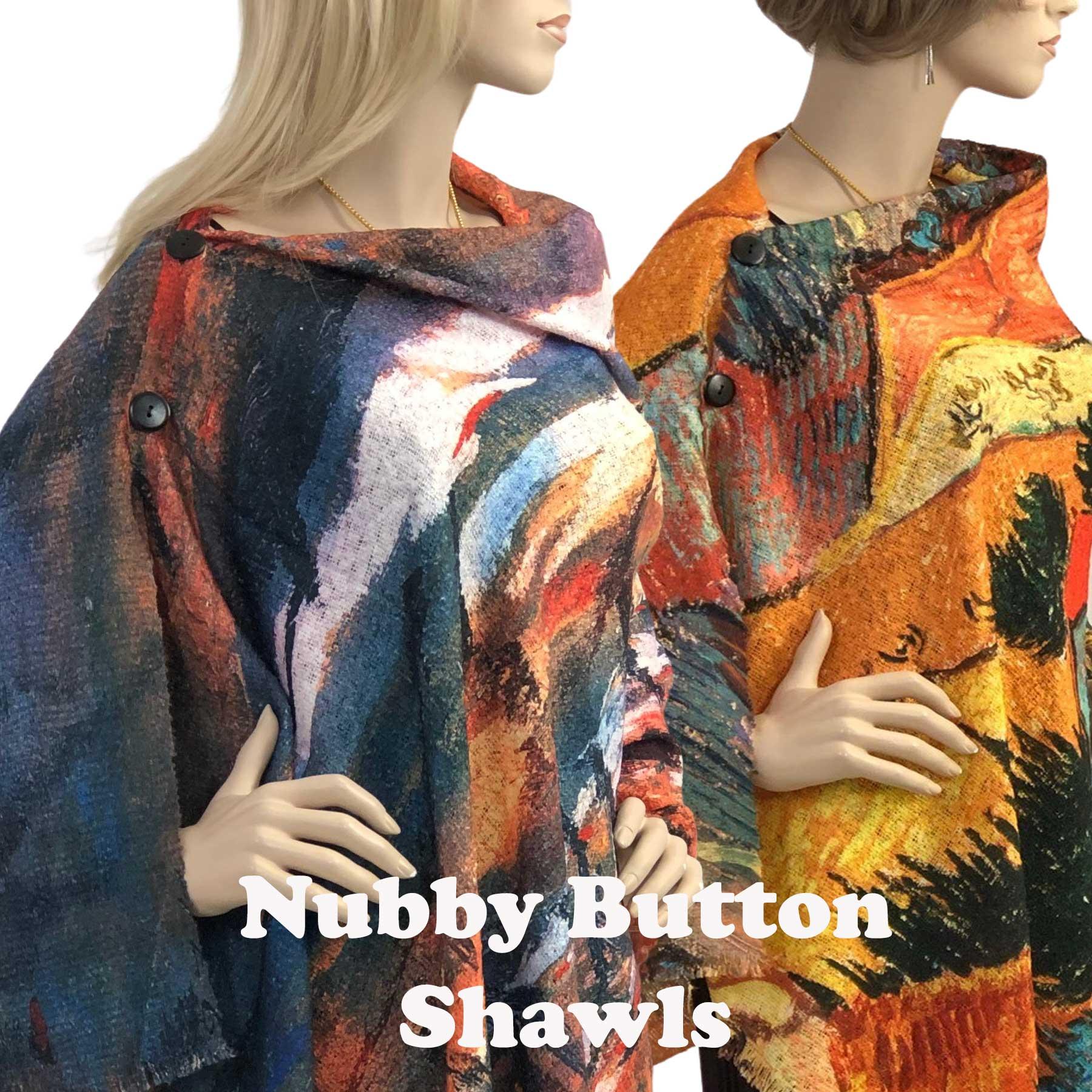 Nubby Art Design Shawls w/ Buttons (NART)