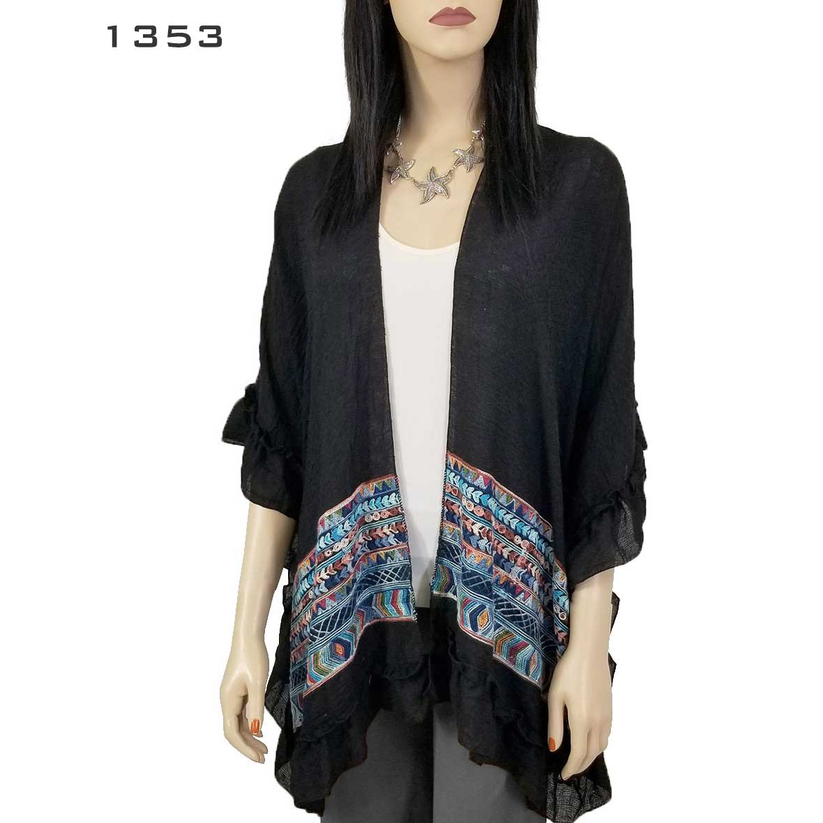 Ruffled Embroidered Kimono-Cotton Feel 1353 & 9331