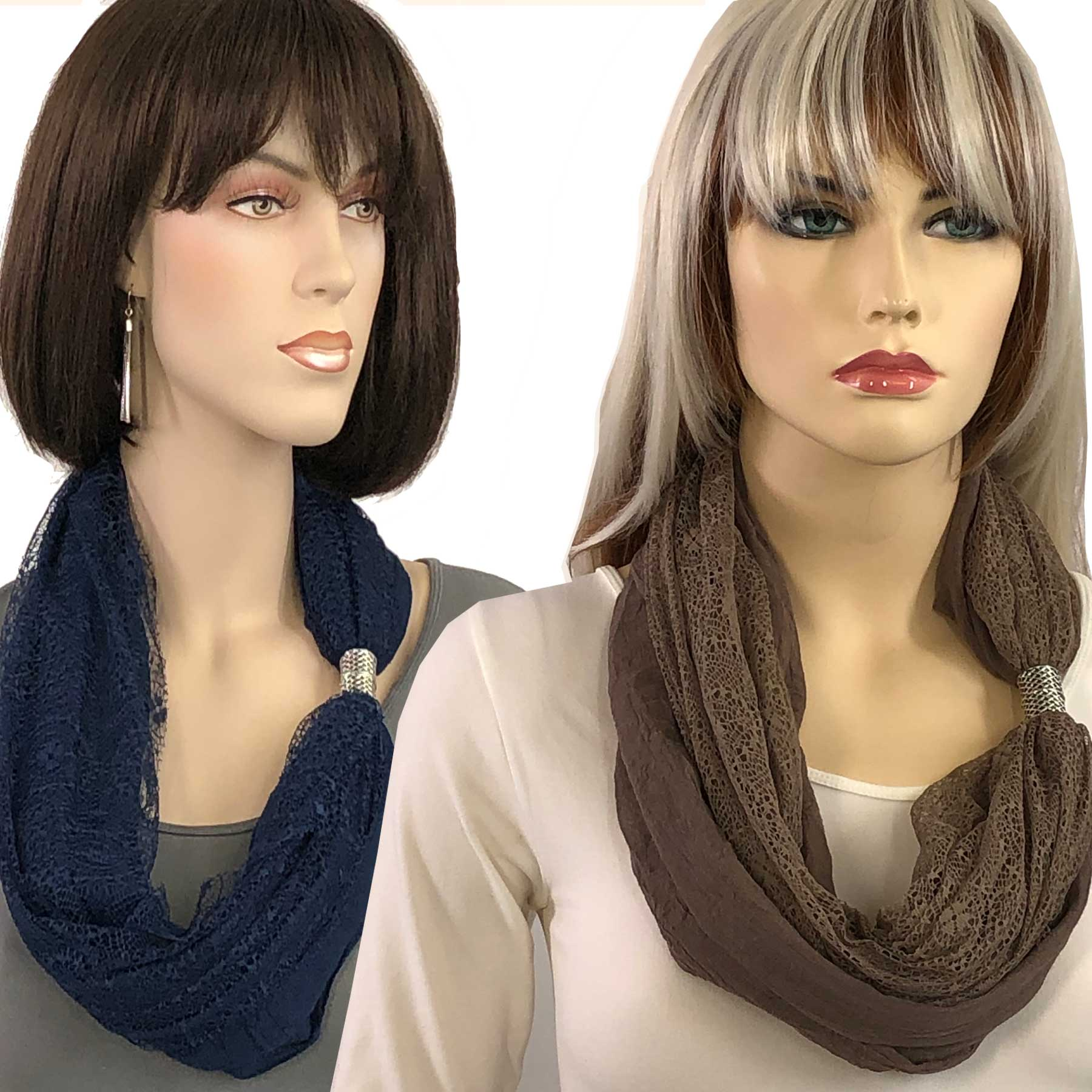 Magnetic Clasp Scarves (Cotton with Lace) 3281