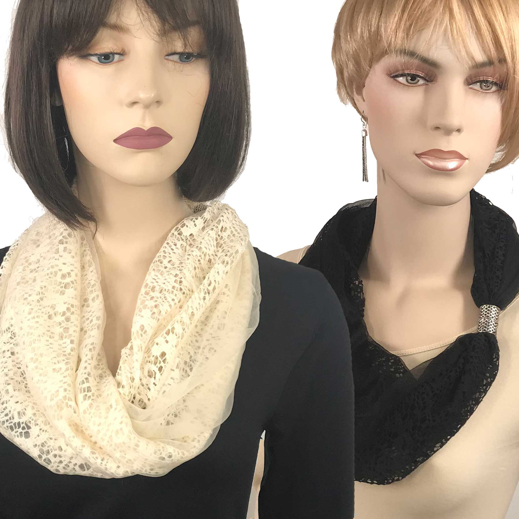 Magnetic Clasp Scarves (Chiffon Double Lace)