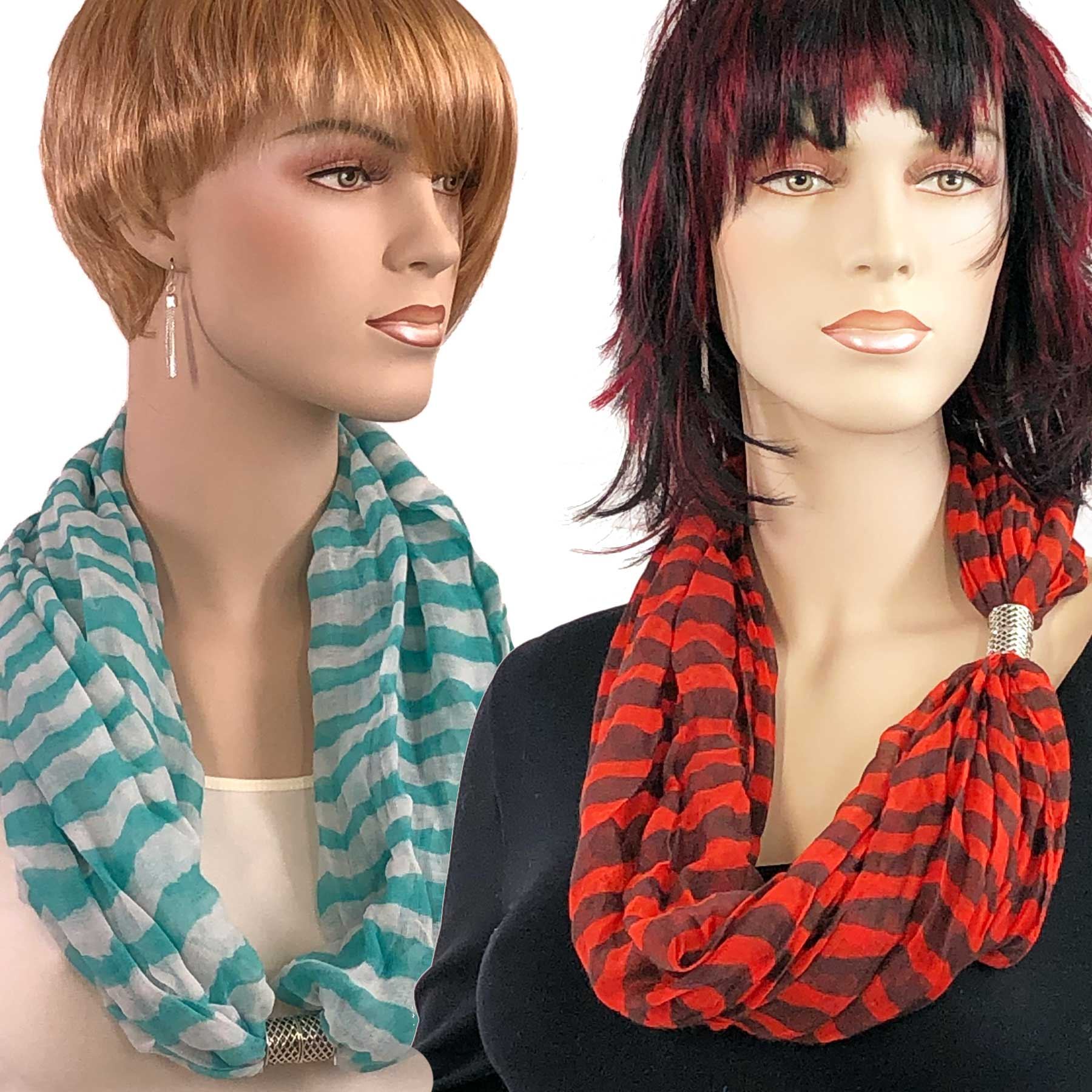 Striped Scarves wth Magnetic Clasps