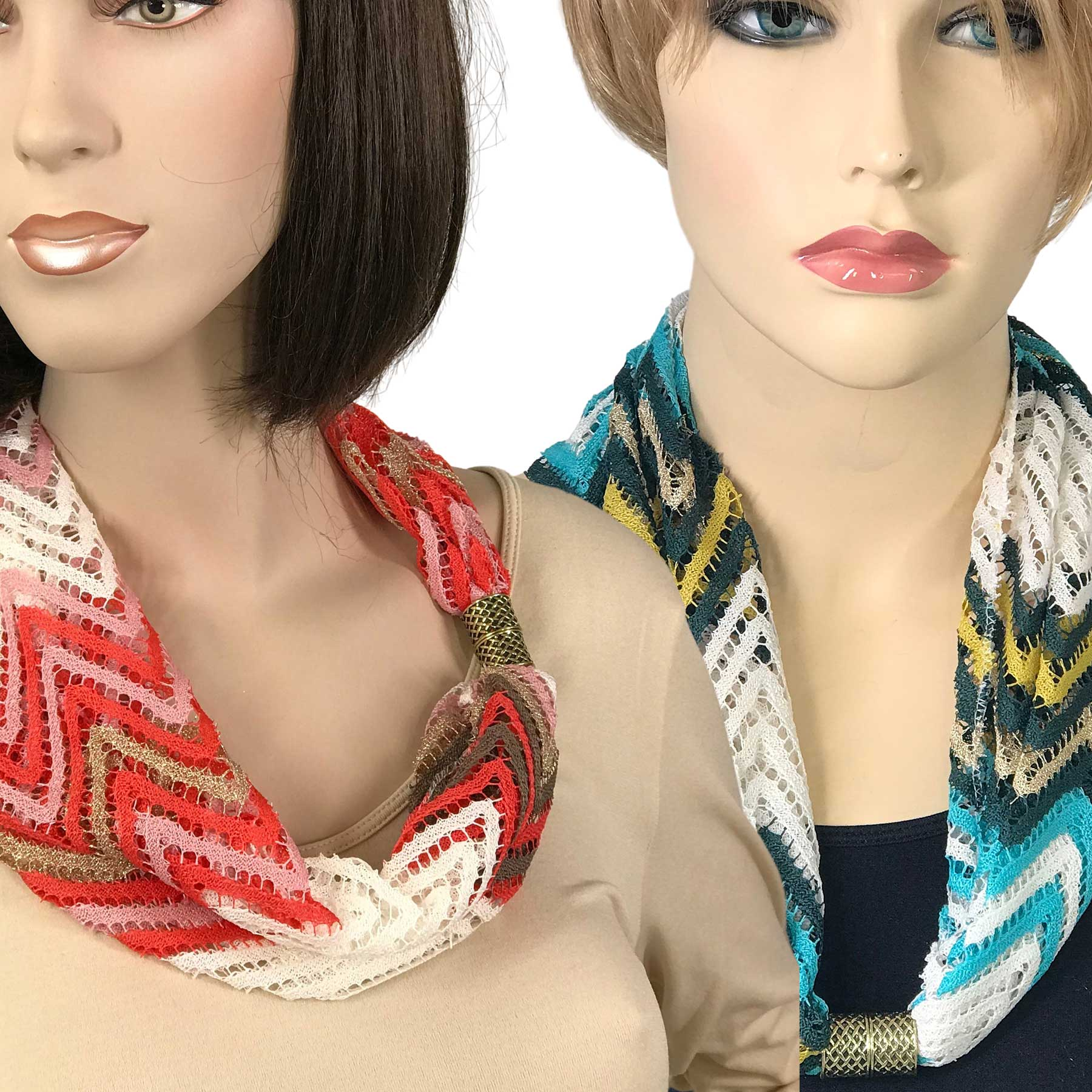 Magnetic Clasp Scarves (Chevron Lace)
