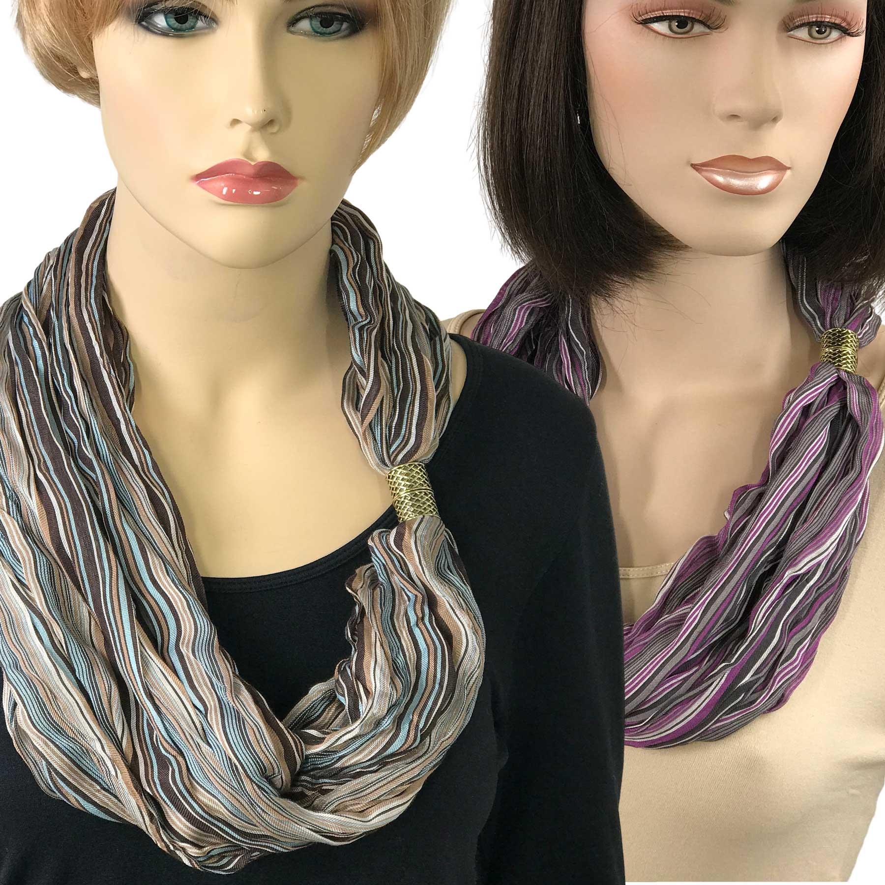 Magnetic Clasp Scarves (Crinkled Stripes 1009)