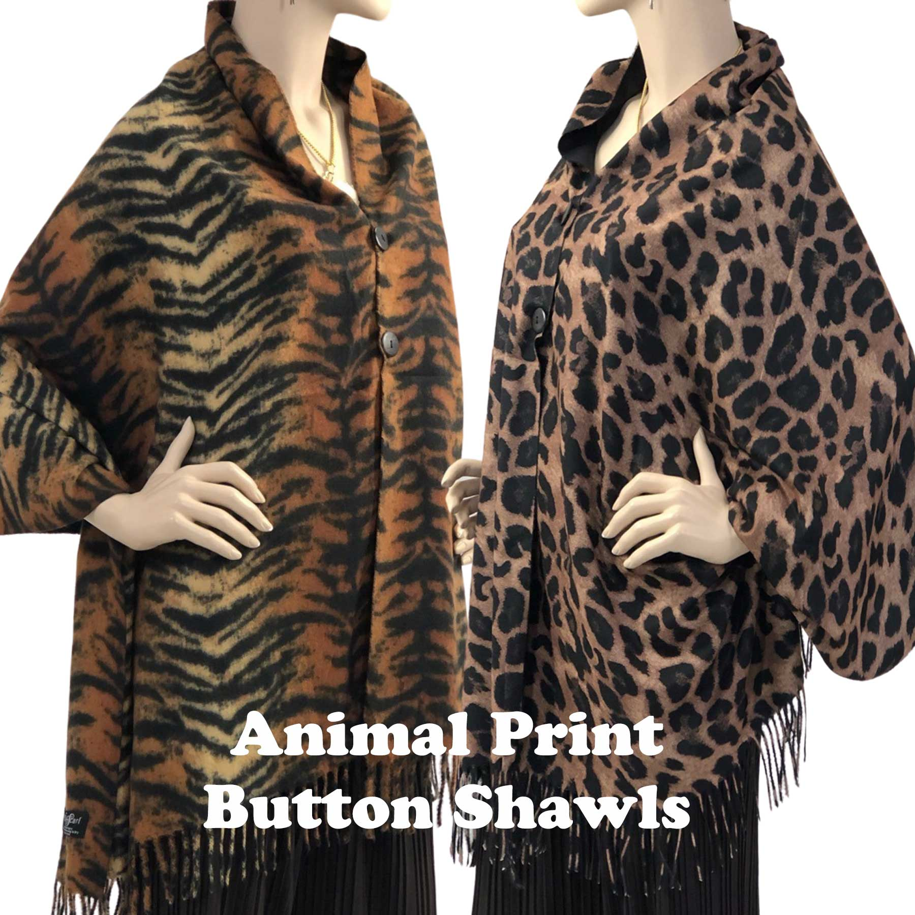 SUEDE CLOTH Animal Print Shawls with Buttons