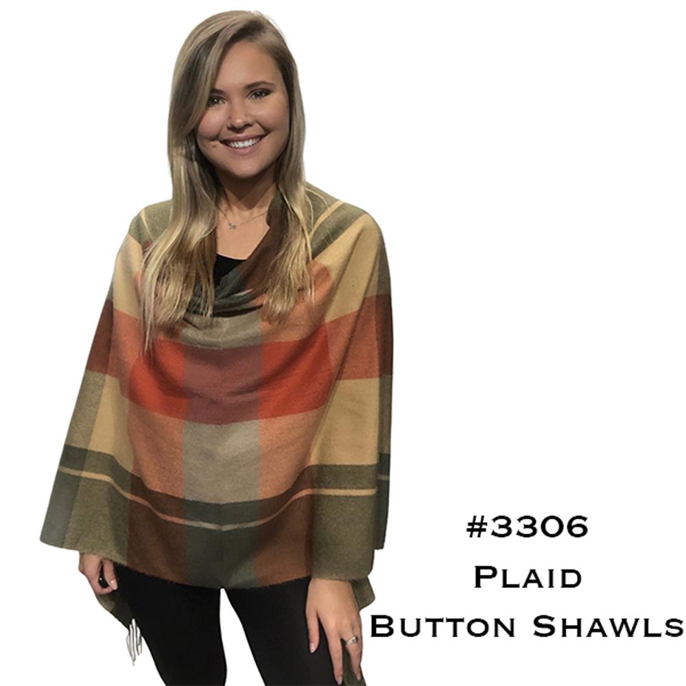 Button Poncho/Shawl - Plaid Cashmere