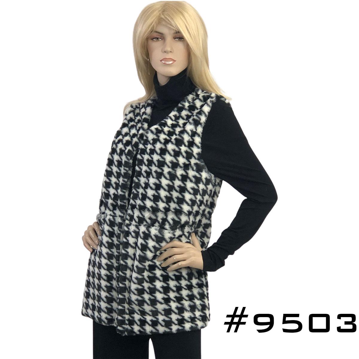 Houndstooth Print Faux Fur Vest 9503