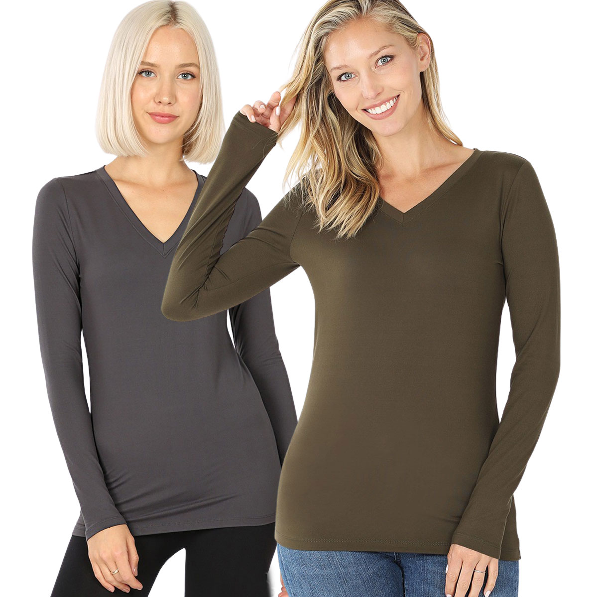 Brushed Fiber - V-Neck Long Sleeve Top 2054