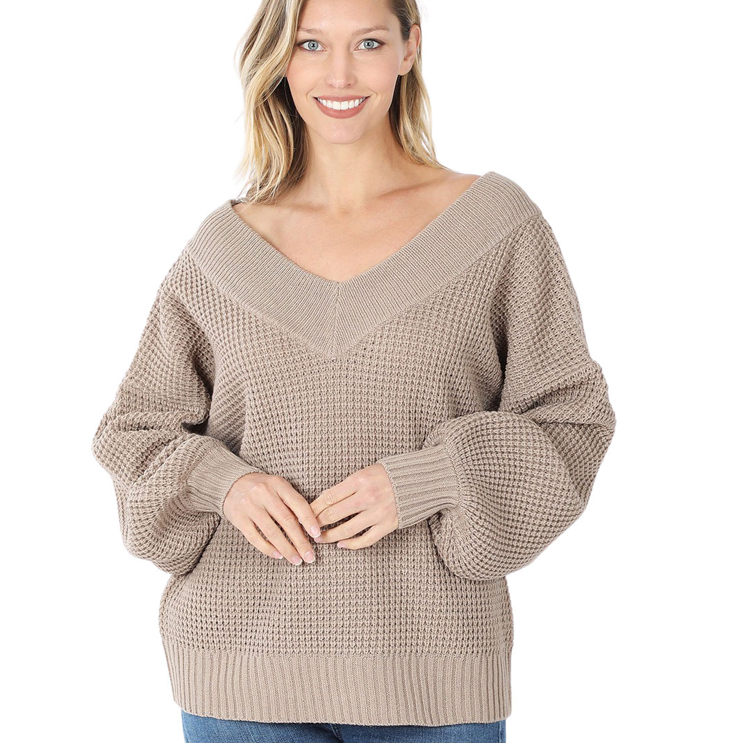 Sweater - Waffle Weave Double V-Neck 3418