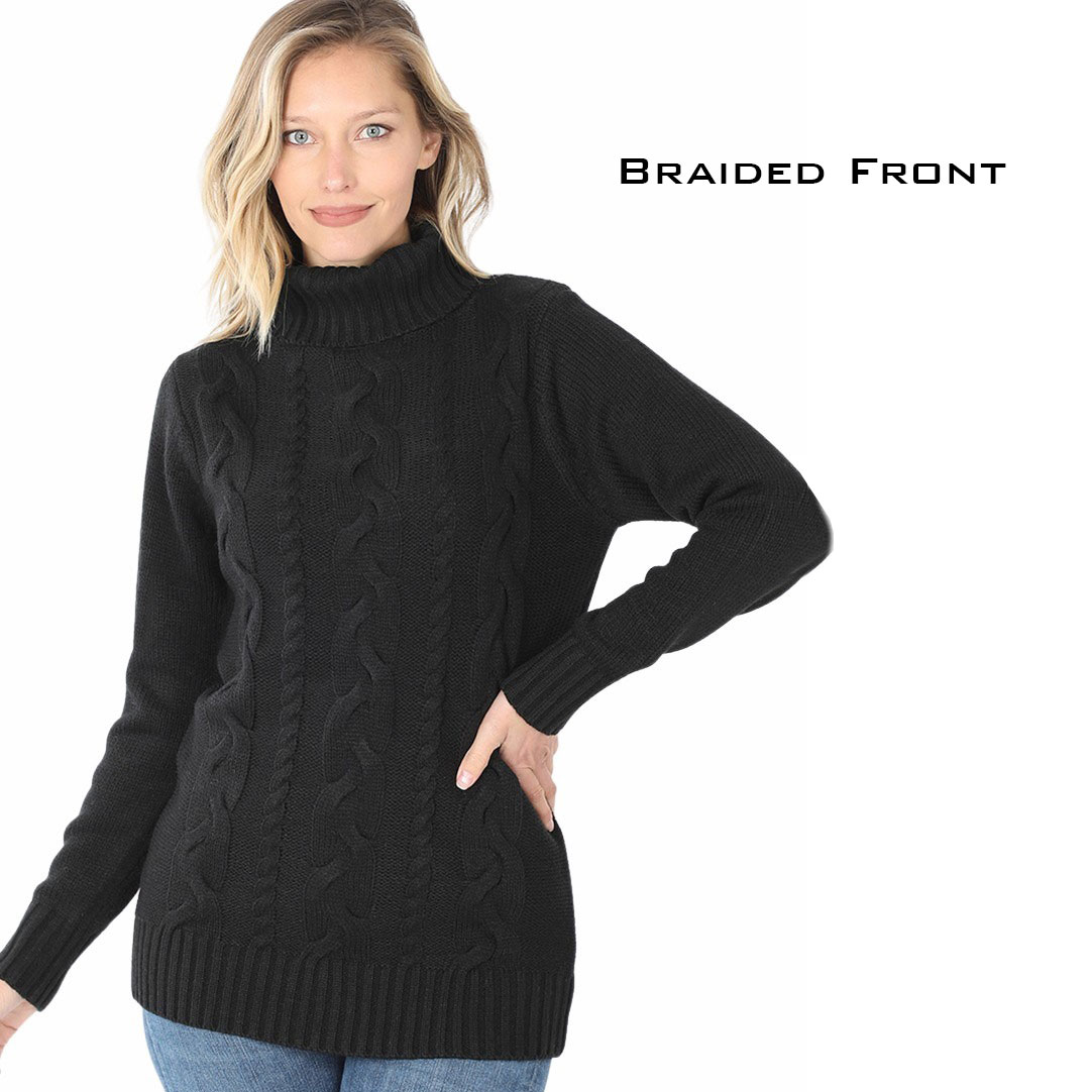 Sweater -  Braided Front Turtleneck 21023