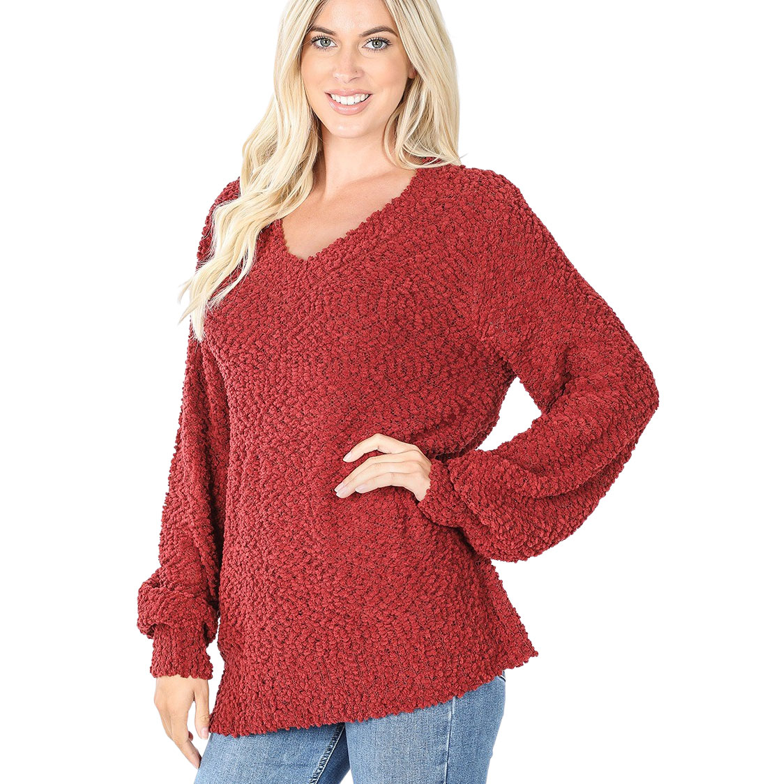 Sweater - Popcorn Balloon Sleeve V-Neck 2736