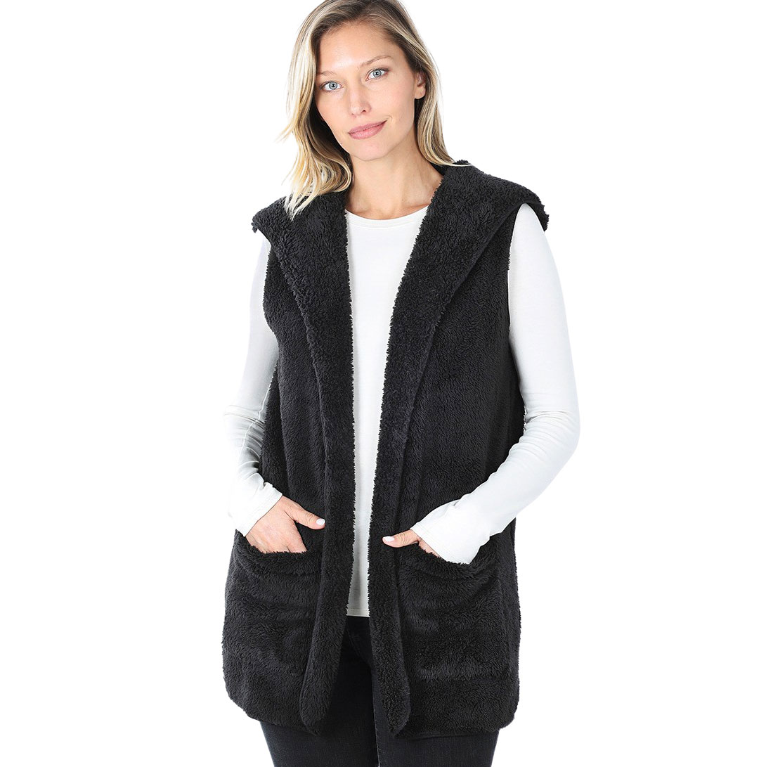 Vest - Hooded Faux Fur with Side Pockets 2611