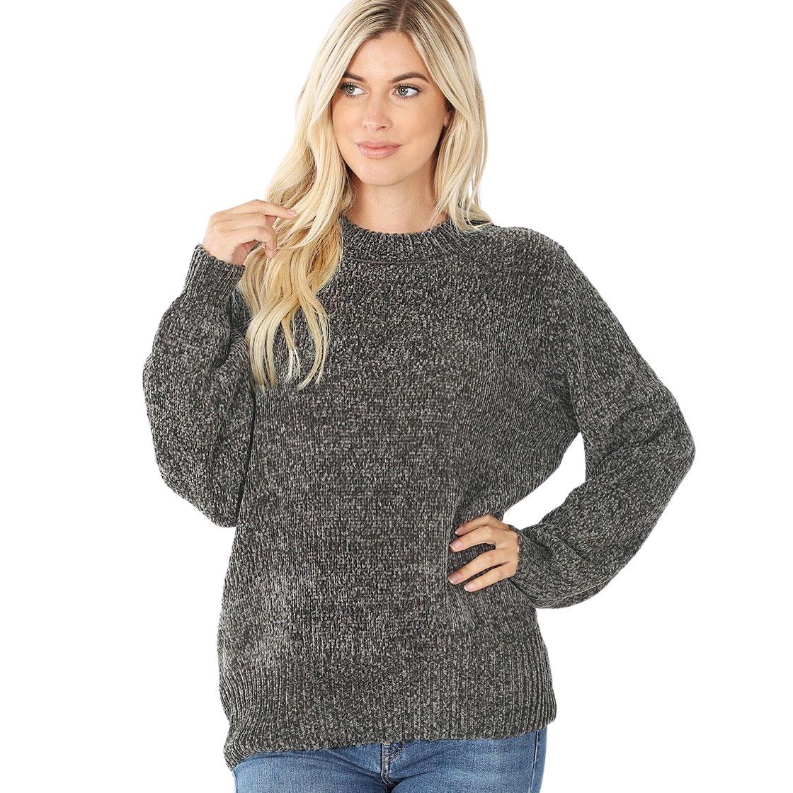 Sweater - Round Neck Balloon Sleeve Chenille 3419