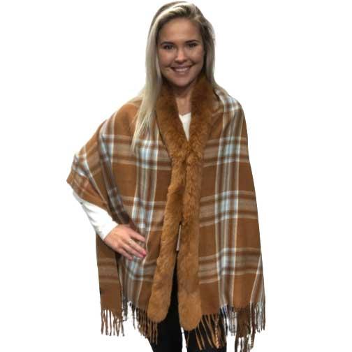 Cashmere Feel Shawls w/ Faux Rabbit Fur Trim LC1R