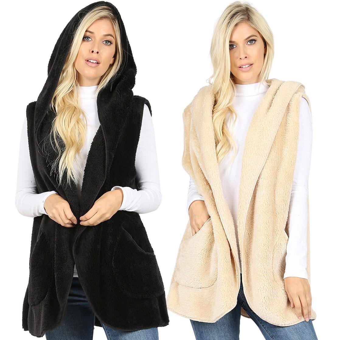 Vest Sherpa- Hooded Faux Fur w/ Side Pockets 2613