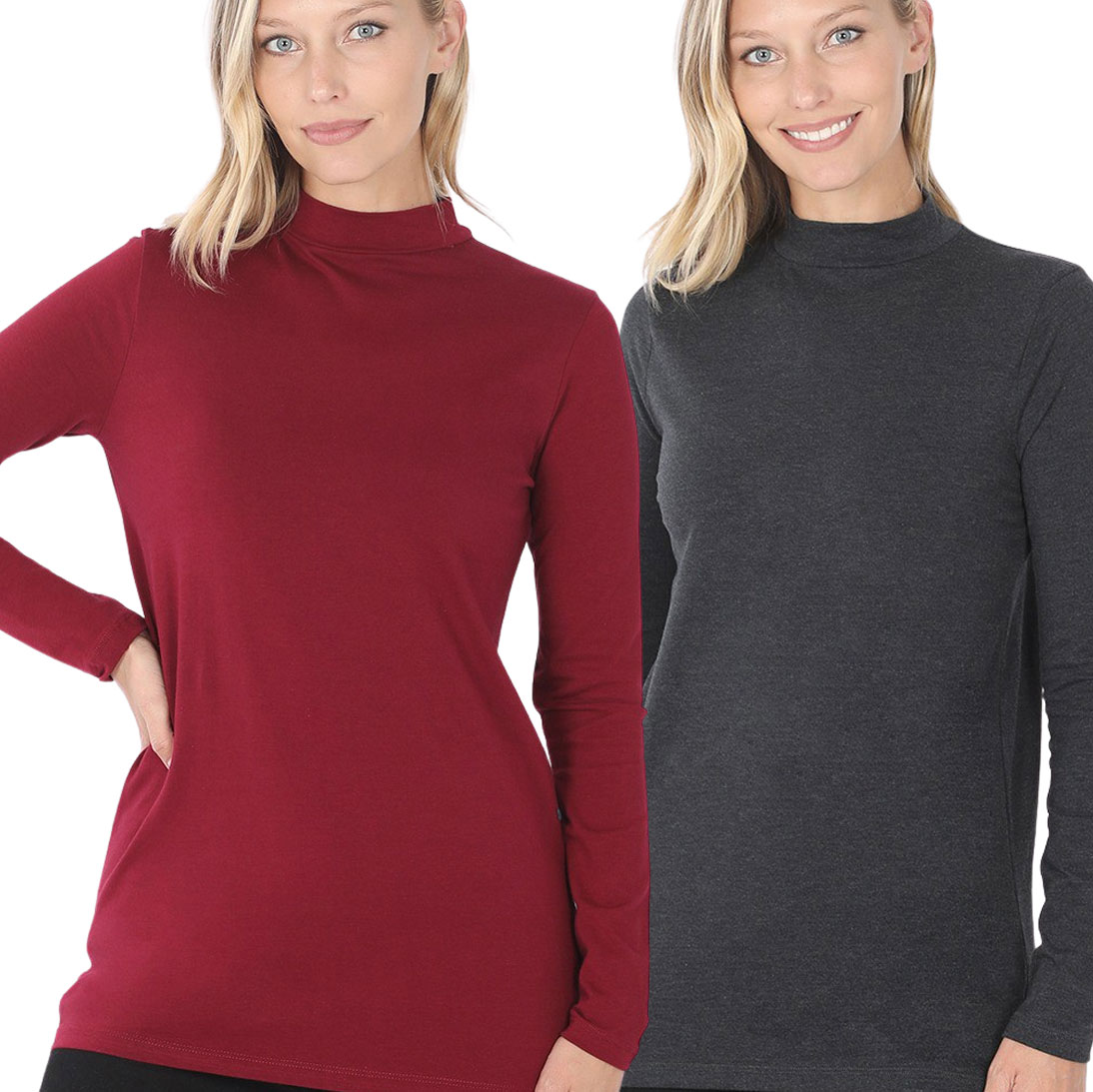 Mock Turtleneck - Cotton Long Sleeve 1059