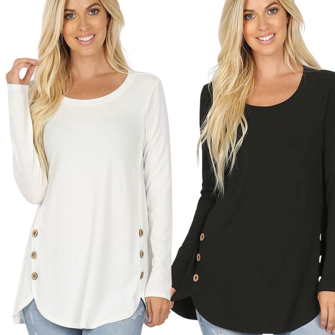 Plus Size Long Sleeve Top w/Side Buttons 2033