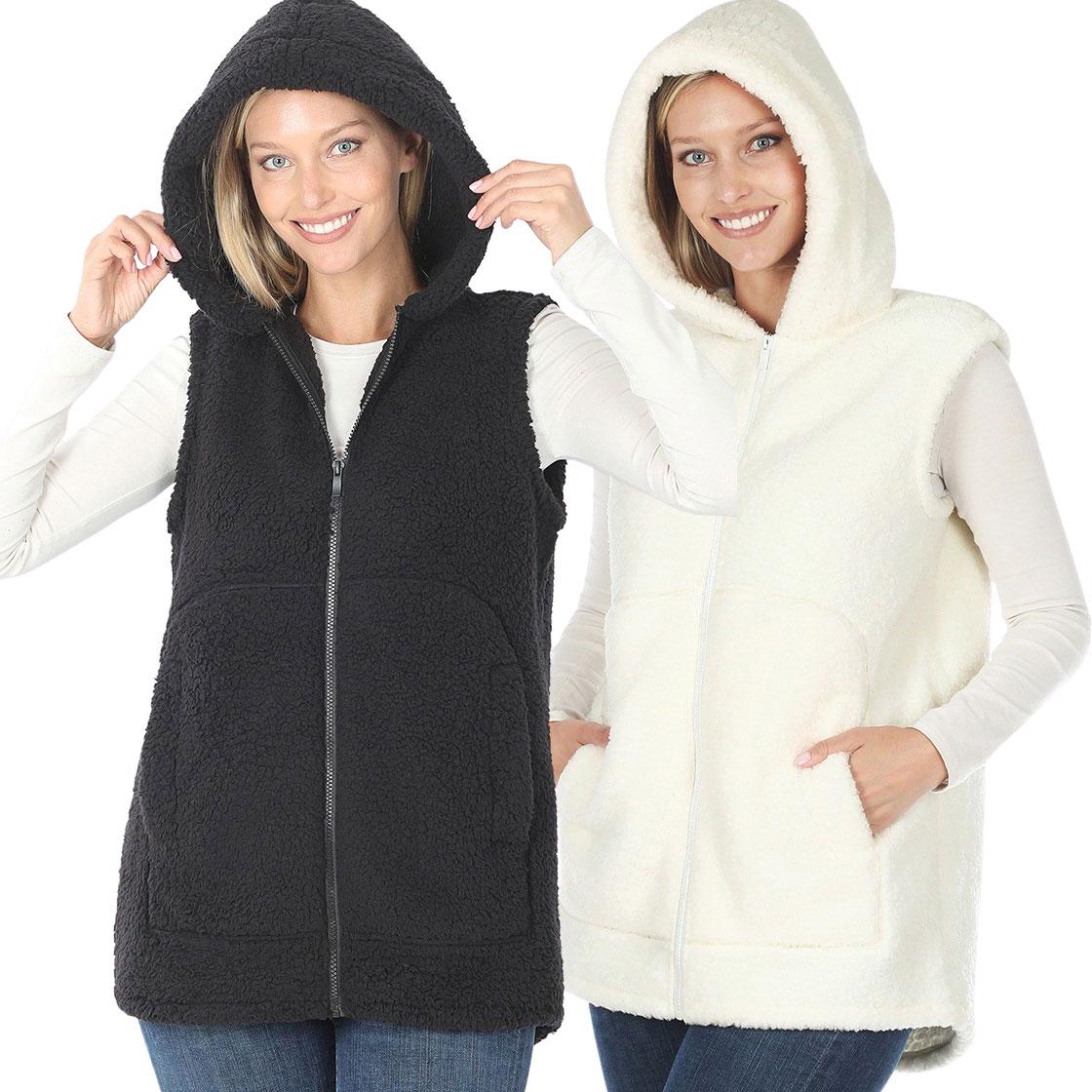 Vest - Sherpa Hi-Low Hooded Vest with Pockets 2865
