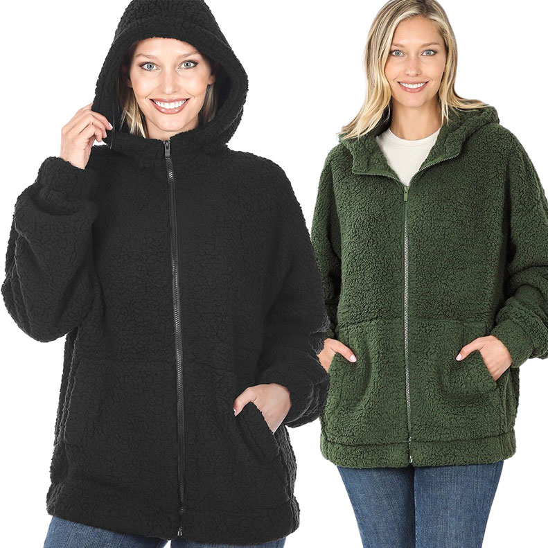 Jacket - Soft Sherpa Hooded with Zipper 75016