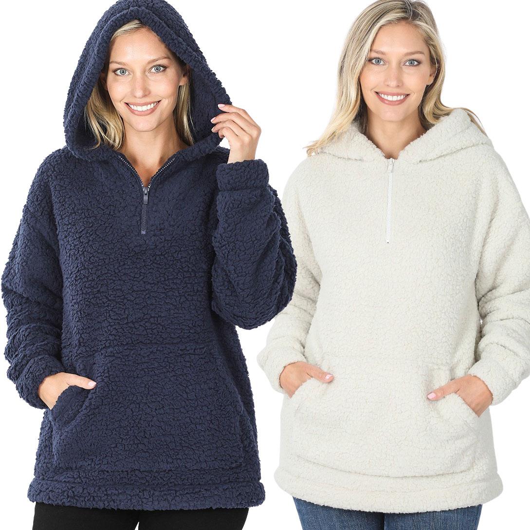 Hoodie - Sherpa Half Zip with Kangaroo Pocket 2845