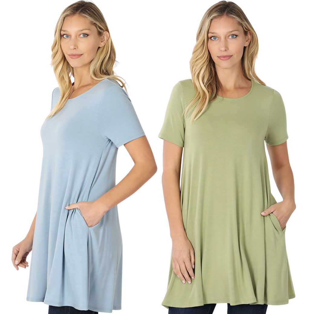 Longline Flared Top with Side Pockets 9927