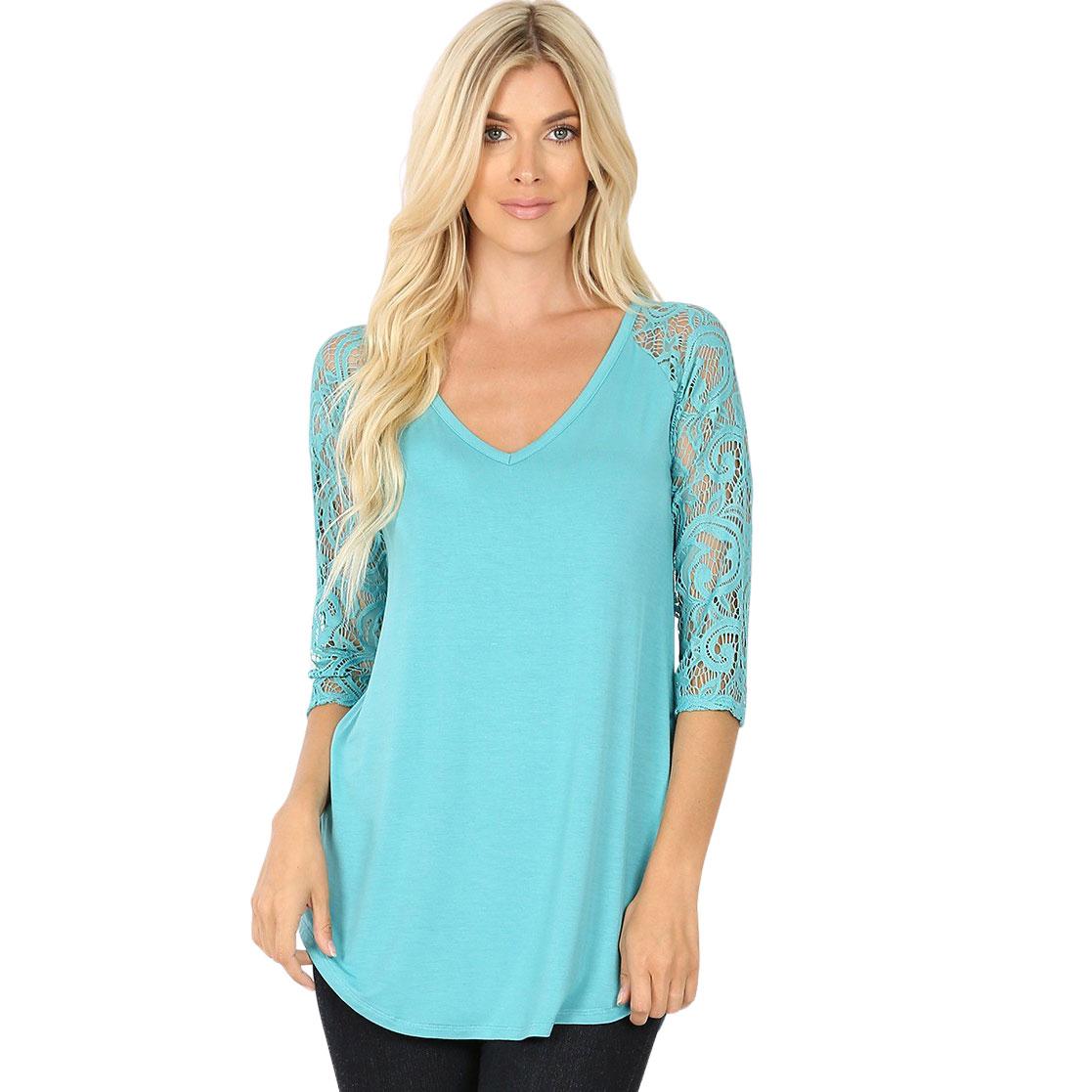 Tops - Lace Sleeve V-neck Dolphin Hem 5579
