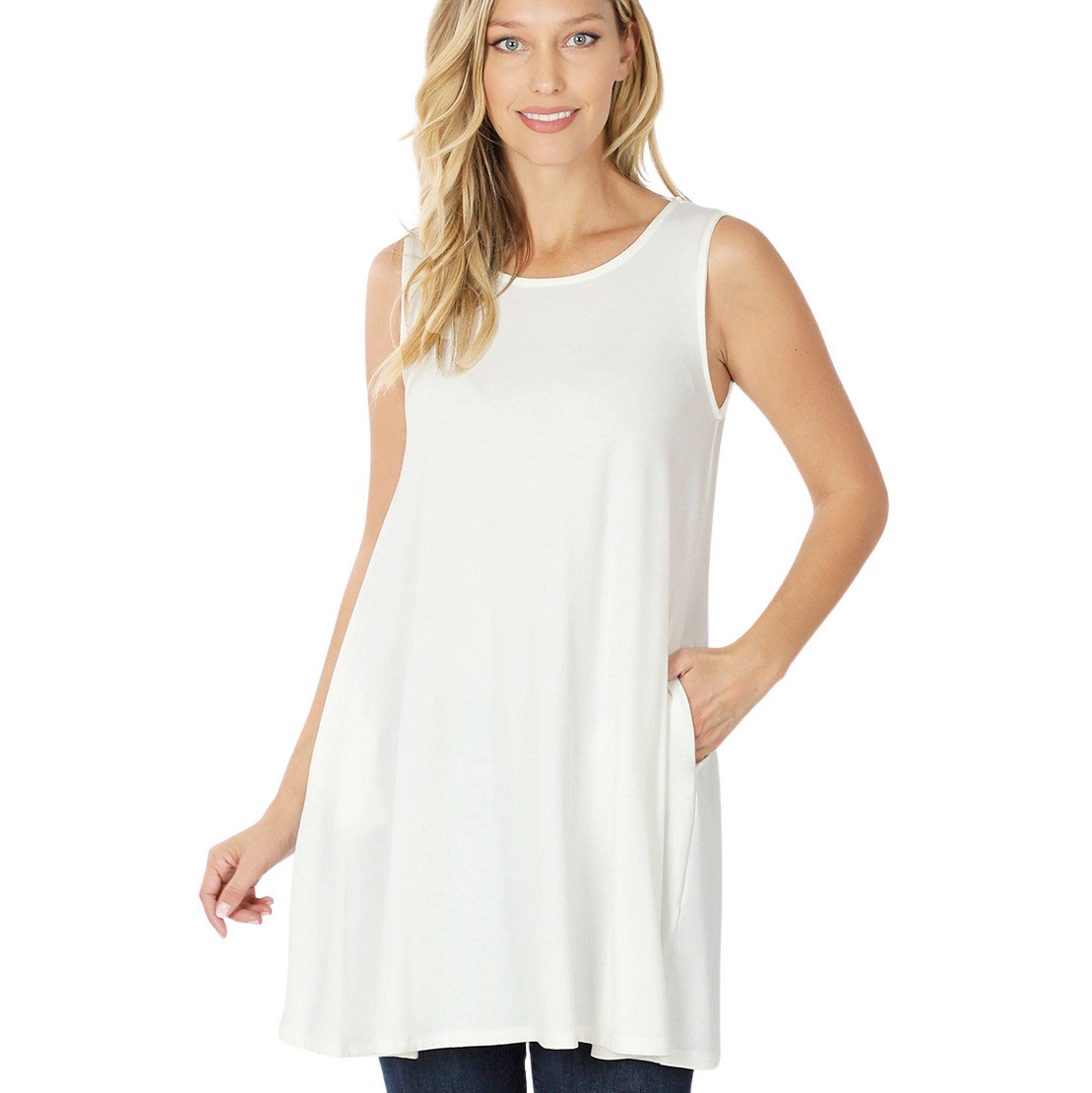Tops - Round Neck Sleeveless Tunic with Side 9926P