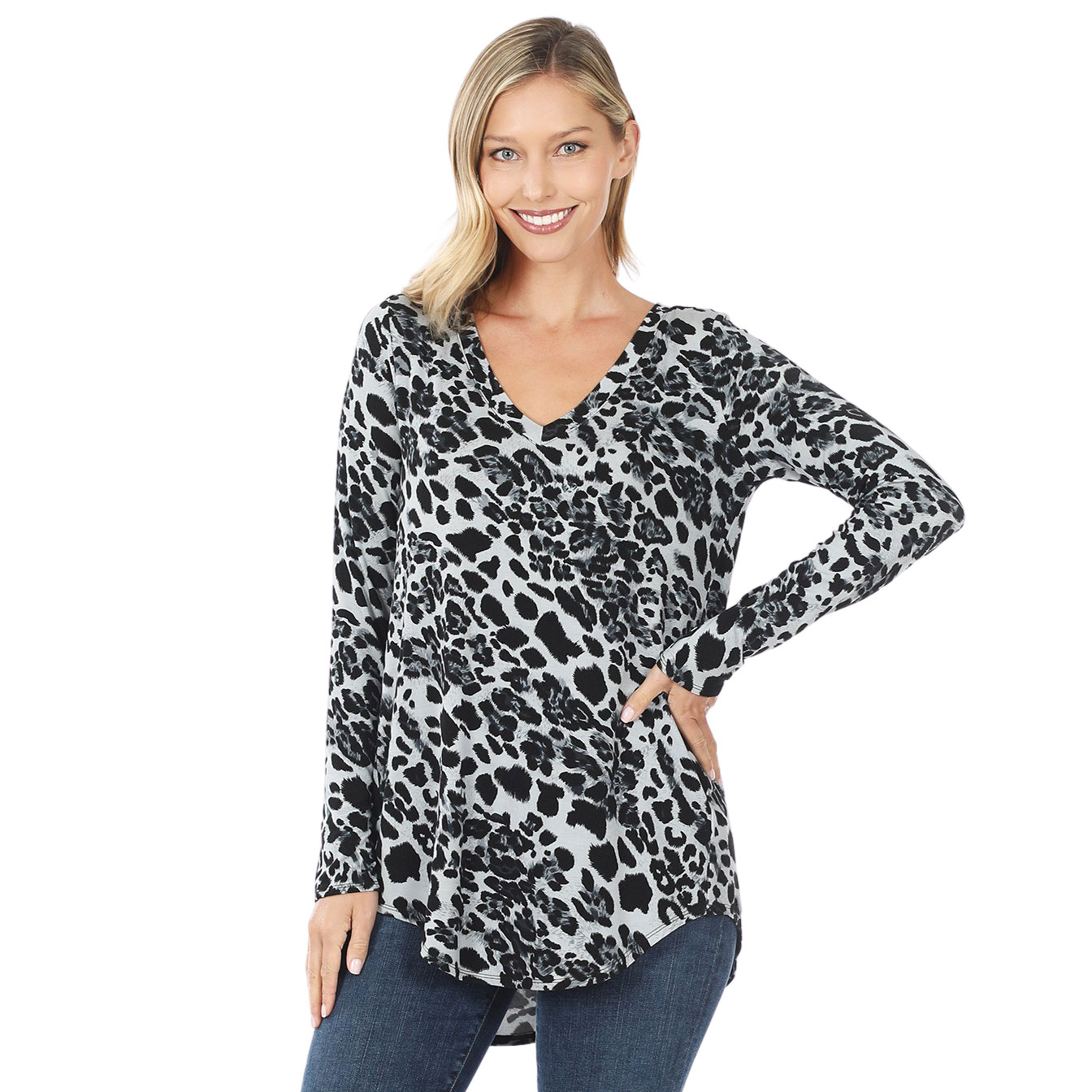 Tops - Leopard  Long Sleeve V-neck Hi-Lo 45016
