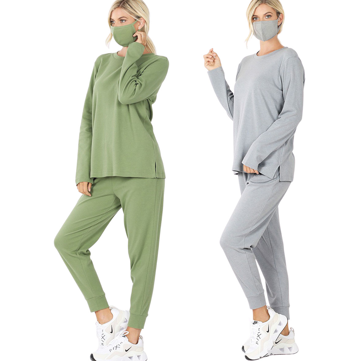 Tops -3PC SET-Cotton Top & Jogger with  Mask 32015