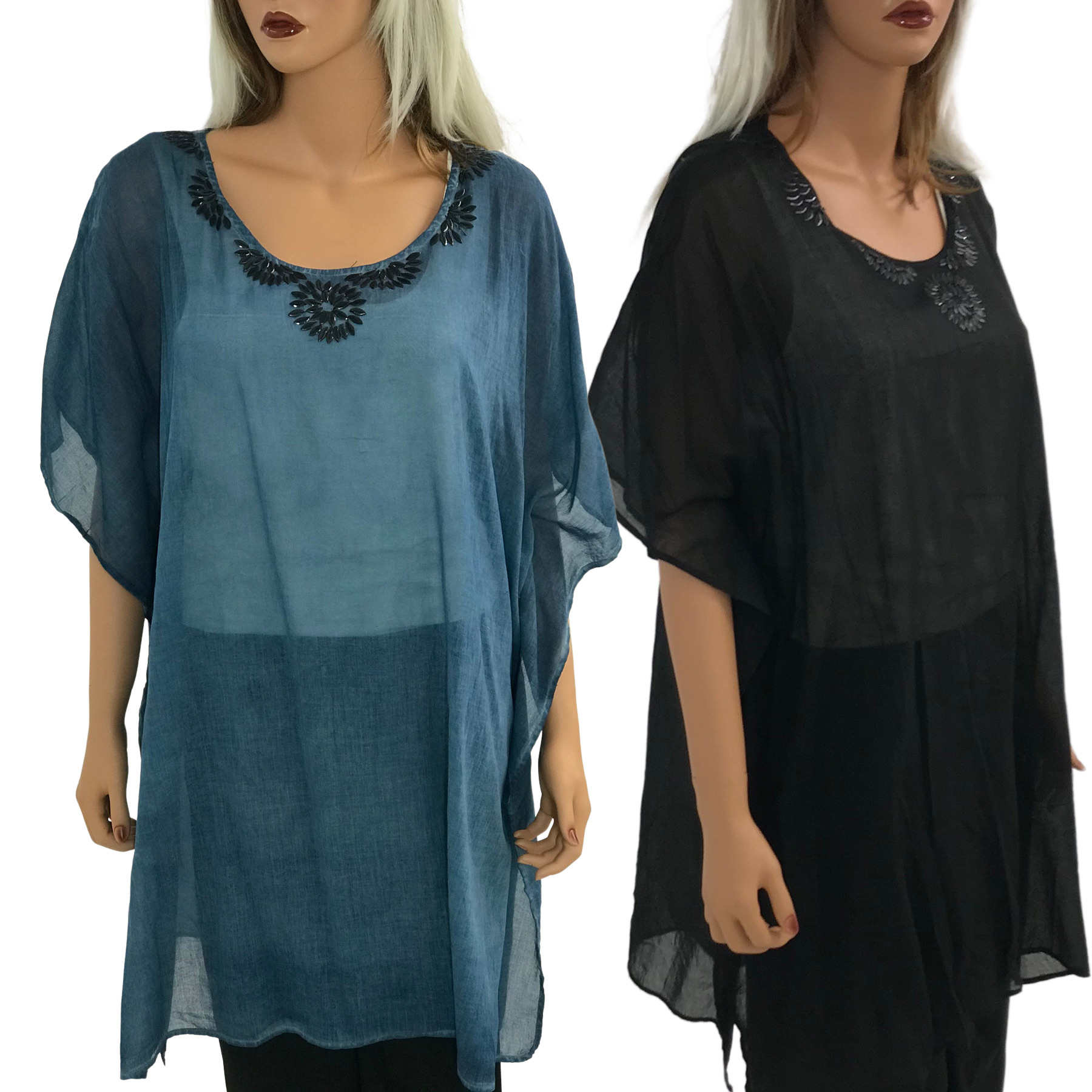 Kaftan Style Tops - Solid with Beading 0175