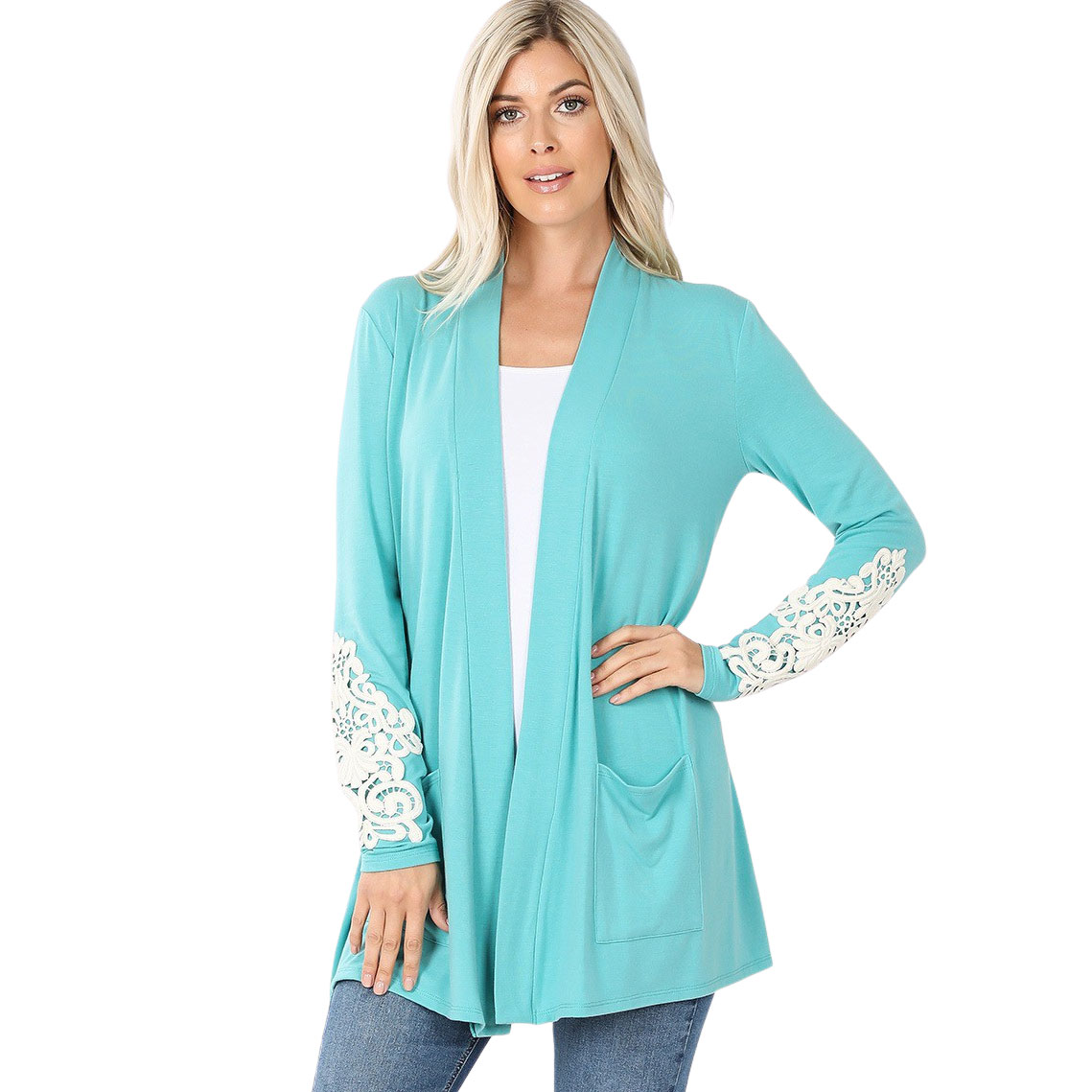 Cardigan Set - Lace Patch Slouchy Pocket 1446