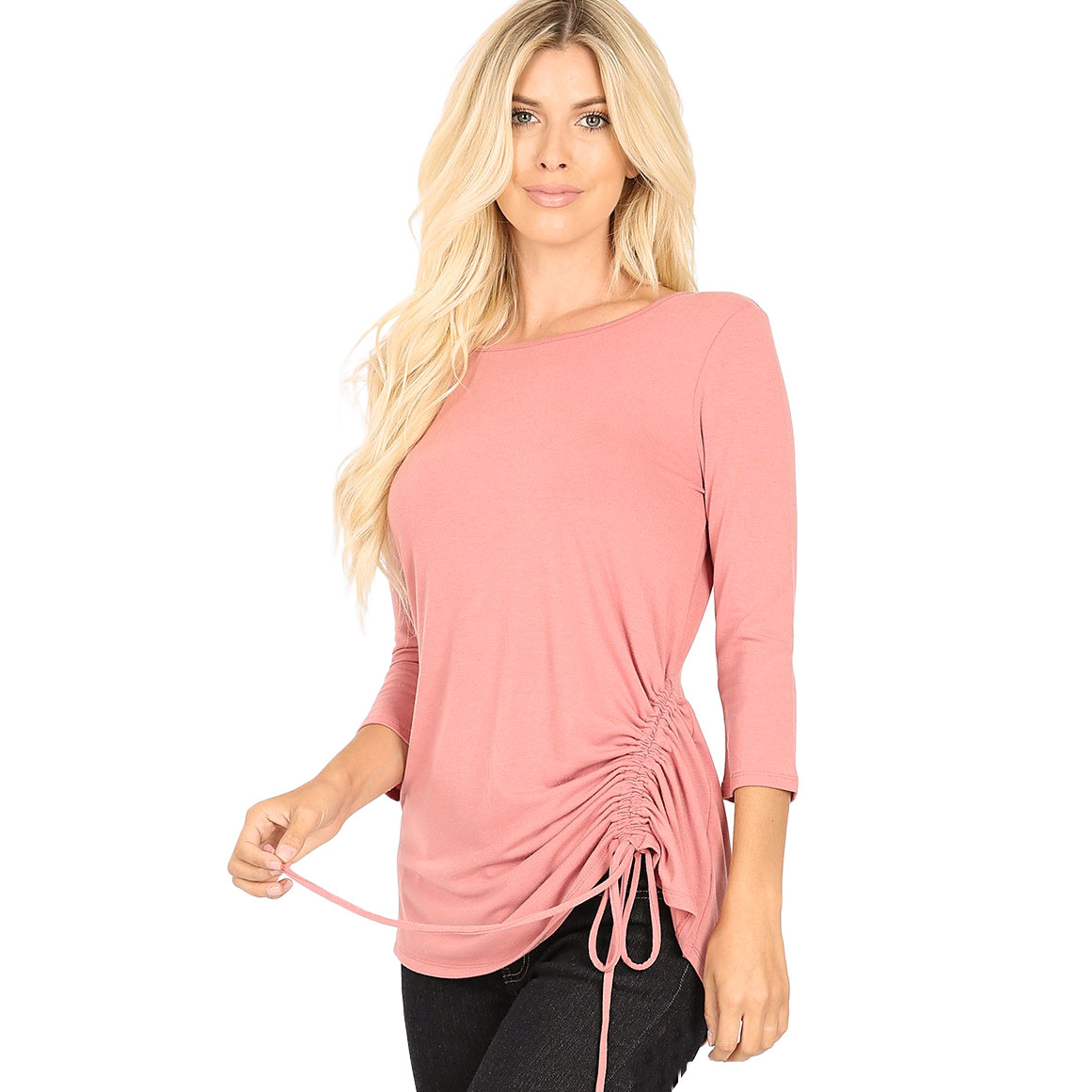 Tops - 3/4 Sleeve Round Neck Side Ruched 1887