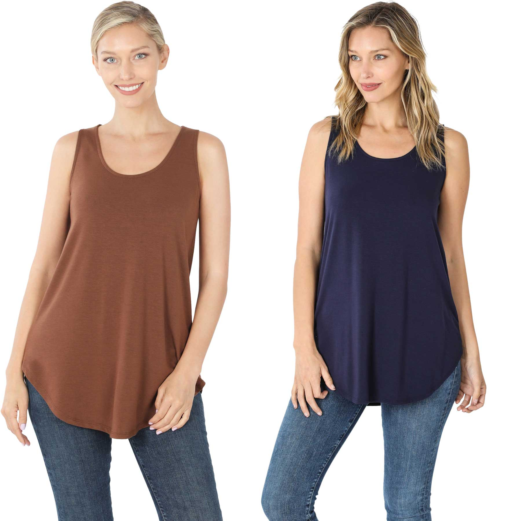 Tops - Sleeveless Round Hem Solids 2100