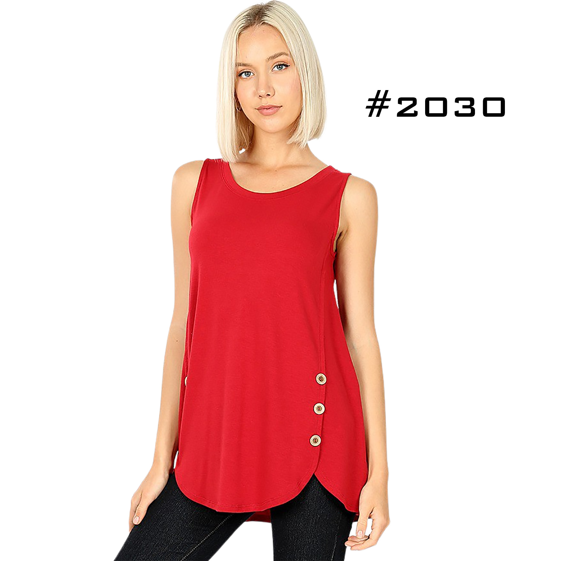 Sleeveless Side Wood Button Top 2030