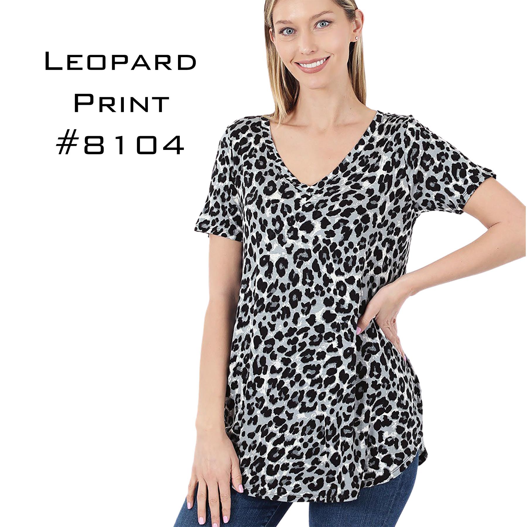 Short Sleeve V-Neck Leopard Print 8104