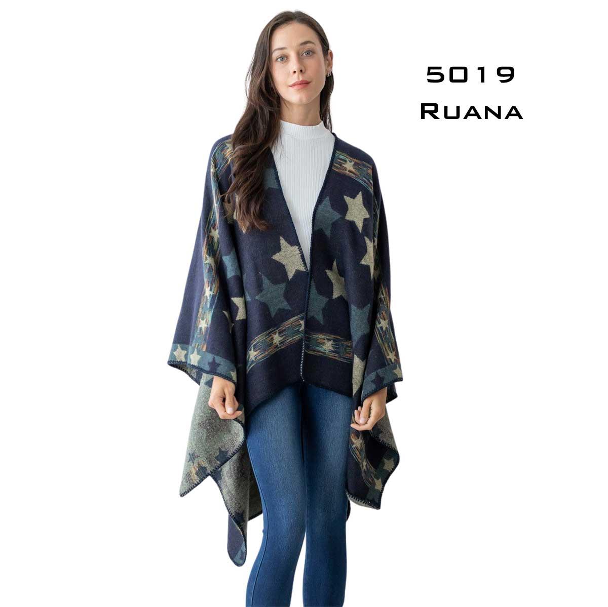 Star Print Ruana - 5019