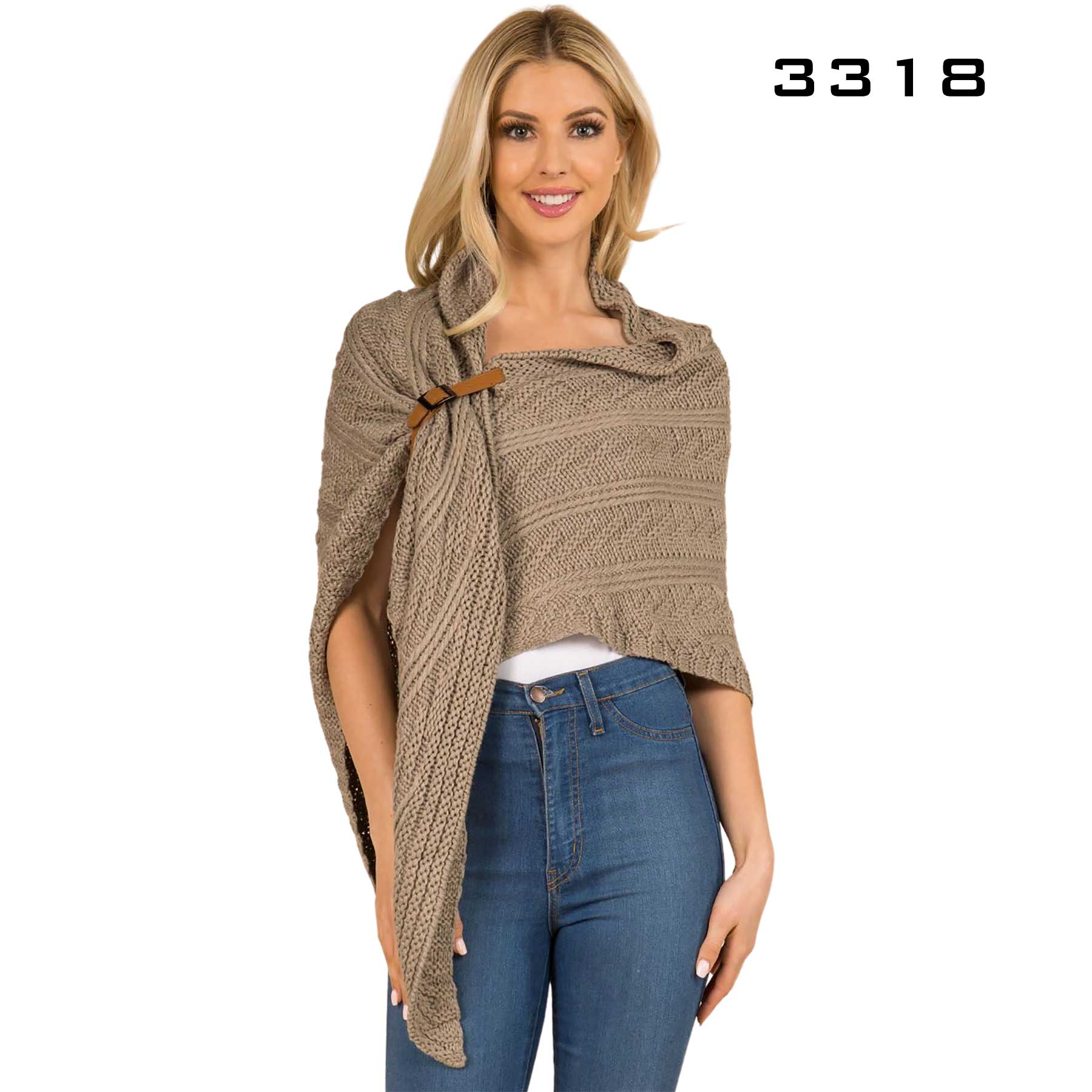 Cable Knit Triangle Wrap - 3318