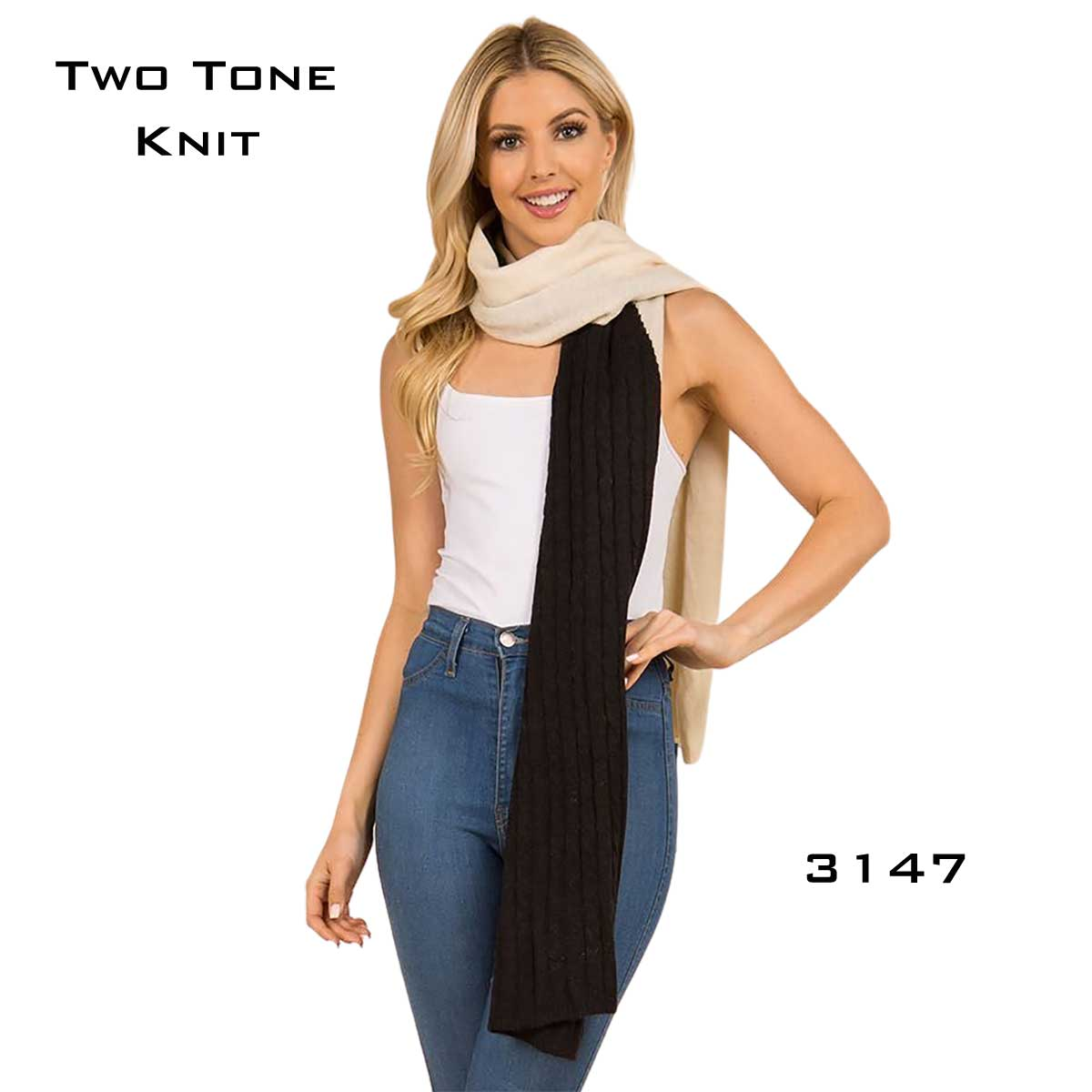 Two Tone Knit Scarf - 3147